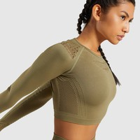 Gymshark Flawless Knit Long Sleeve Crop Top - Khaki