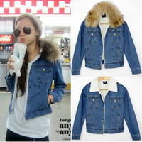 WOMEN'S REAL FUR COLLAR BERBER FLEECE DENIM JACKET 911