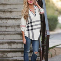 State Street Plaid V Neck Blouse *FREE SHIPPING*
