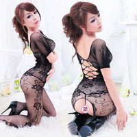 Free shippingWomen Sexy Lingerie Clothing Crotchless Fish net Body suit Body Stocking  hot