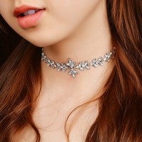Alloy Inlaid Glass Rhinestone Short Clavicle Necklace 171124
