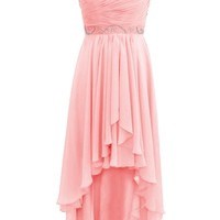 Dressystar High Low Beaded Prom Party Gown Spaghetti Bridal Bridesmaid Dress