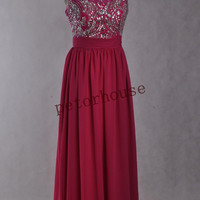 Dark Pink Beaded Long Prom Dresses with corsage,Formal Evening Gowns, Party Dresses,Wedding Party Dresses,Formal Wear,Bridesmaid Dresses