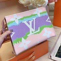 LV Louis Vuitton New Women's Rainbow Patchwork Lettering Cosmetic Bag Shoulder Bag