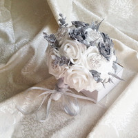 White foam roses sparkle glitter brooches silver flowers wedding BOUQUET satin Handle, custom