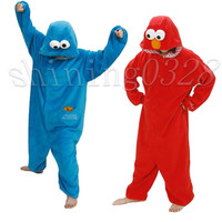 Red Elmo Adult Pajama Sets Women Pajamas Adults Cosplay Cartoon Blue Elmo  Onesuit Animal Onesuits  Sleepwear Flannel