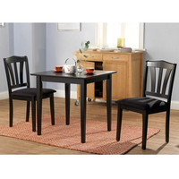 3 Piece Wood Dining Set with Square Table & 2 Chairs in Black