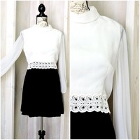 Vintage 60s mini dress size 8 / 9 / black white formal dress / retro mod 1960s dress
