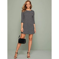 SHEIN Striped Tee Dress Black and White