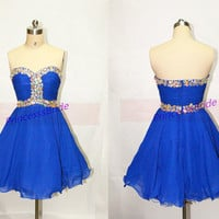2014 short chiffon homecoming dress in royal blue,cute sweetheart prom gowns with rhinestones,cheap chic women dresses under 150.