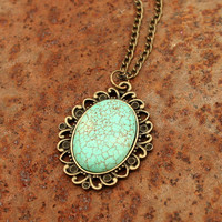 Vintage  necklace- Vintage turquoise charm necklace-Turquoise necklace