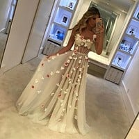 White Beautiful Prom Dress Flowers Open Back Pastel Bustier Evening Dress