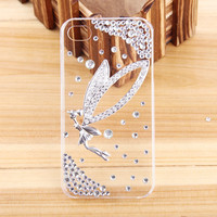 New women 3D Luxury Handmade Angel Butterfly Bling Diamond Crystal Case Cover for iPhone 5C phone cases