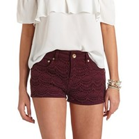 HIGH-WAISTED CROCHET COLORED DENIM SHORTS