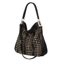 Melie Hobo Handbag with Gold Studs and Removable Crossbody Strap - Black