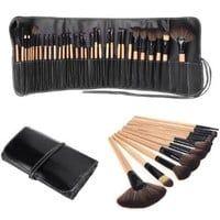 Abody Wood 32Pcs Makeup Brushes Kit Professional Cosmetic Make Up Set + Pouch Bag Case (Black)