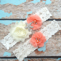 GARTER / Beach Wedding Garter  / Coral Garter Set / Starfish Garter set / Toss Garter / Beach Garter / Lace Garter