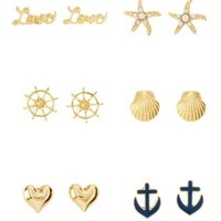 Gold Nautical Stud Earrings - 6 Pack by Charlotte Russe
