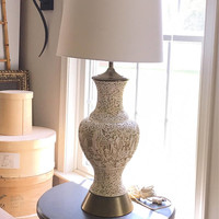 Unique Mid Century Carved Asian Lamp, Plaster Relief Tall Table Lamp, White and Gold Urn Bedside Lamp