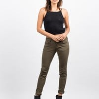 Basic 5 Pocket Skinny Jeans - Olive