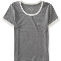 Seriously Soft Solid Crop Baby Tee - Aeropostale
