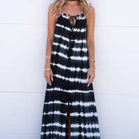 Hamptons Tie-Dye Maxi Dress - Navy