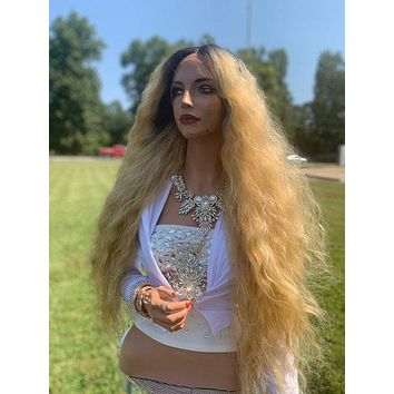Donna Natural Hair Wig, Ombre' Light Blonde Waves 919