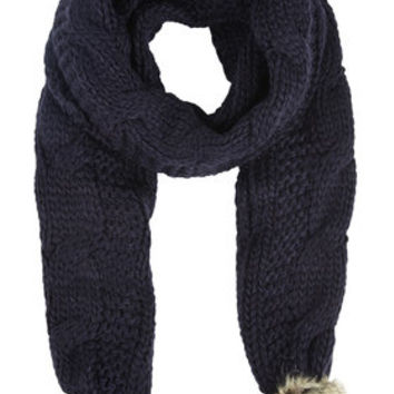 Cable Faux Fur Pom Scarf - Navy Blue
