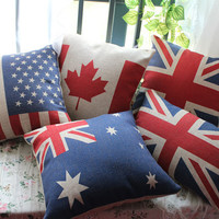 1pc National Flag Assorted Linen Pillow Case Cushion Cover Union Jack UK Flag Canadian Flag USA Red Leaf Australian Flag