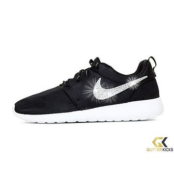 Women's Nike Roshe One + Crystals -Black/White