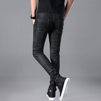 Lguc.H 2018 Brand New Men Jeans Fashion Skinny Jeans Cotton Black Elastic Stretch Good Quality Jeans Homme Ripped Jeans Men 33