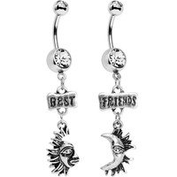 Clear Gem Best Friends Moon and Sun Dangle Belly Ring Set