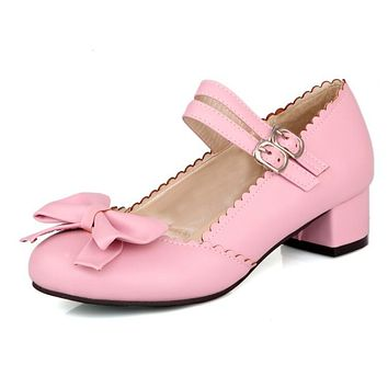 Ladies Sweet Bow Mary Janes Woman's Chunky Heels Pumps