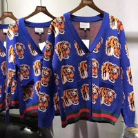 GUCCI Fashion Personality Tiger Head Print Knit Button Cardigan Jacket Coat Knitwear I