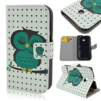 Superfect White Green Polka Dot Wallet Magnetic Closure PU Leather Case Flip Cover for Motorola Moto E 2014(XT1021 / XT1022 / XT1025) Sleepy Blue Owl Big Black Eyes Small Mouth Lovely Style Pattern Protective Premium Skin Stand Classic Multifunction Folio