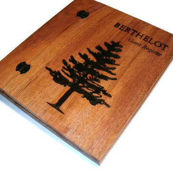 Boss Away SALE Guest Registry - Album Holds Standard 8.5x11 Pages - Custom Woodburnt With Your Design