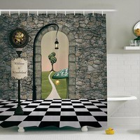 Pastoral Style Home Shower Curtains Cartoon Scenic Printed