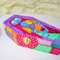 Coffin Box Wood Trinket Jewelry Box Hand Painted Sally Nightmare Before Christmas Colorful Home Desk Office Decor Goth Monster Birthday Gift