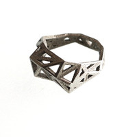 geometric ring - Slim Triangulated Ring in Stainless Steel. 3d printed, triangle jewelry, modern statement jewelry