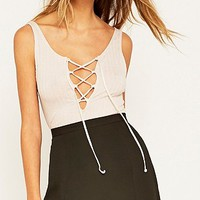 Project Social T Lace-Up Pink Ribbed Tank Top - Urban Outfitters