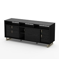 Contemporary TV Stand in Black Finish and Satin Nickel Metal Legs