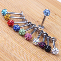 1piece 3mm 6/8/10mm long ,Ball Monroe Lip Labret Ring Bar Stud Tragus Body Piercing 16G Body JEWELRY