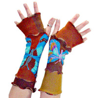 Butterfly Arm Warmers, OOAK Arm Warmers, Upcycled Clothing, Upcycled Arm Warmers, Brown and Teal, Handmade Arm Warmers, Fingerless Gloves