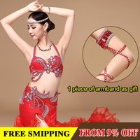 Handmade 2 piece Bra and Belt Stage Performance Plus size Luxury Belly Dancing Egyptian Costumes Oriental Style belly dance bra