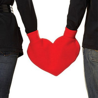 Red Heart Shaped Lovers Mitten Snuggle down for warm by isewnaked
