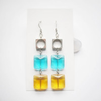 Transparency Collection - Melody Earrings glass and metal, handmade women teen fashion, long drop dangle earrings, eco-friendly gift wrap