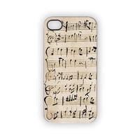Music Note Mozart iPhone Case Apple iPhone Cover 5 4S 4 Wolfgang Amadeus Mozart Classical Piano Sheet Music Vintage Look Cream Ebony Ivory