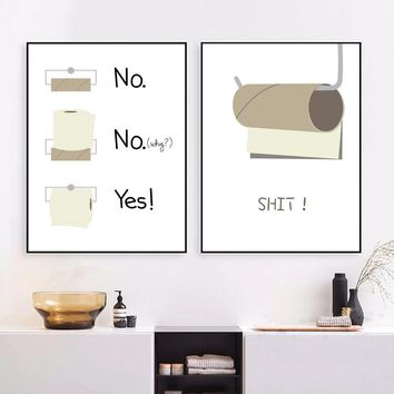 Toilet Paper Funny Shit Quotes Canvas Painting Posters And Prints Wall Art Canvas Prints Pop Art Wall Pictures For Bathroom