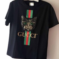 GUCCI spring and summer 2018 new south Korean version of the striped cat head, bright and short sleeve T-shirt round collar 100