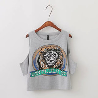 Honolulu Lion Print Sando Crop Top